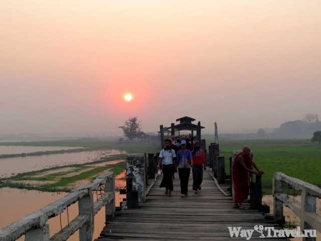 Закат над мостом У Бейн (Sunset over the U Bein Bridge)