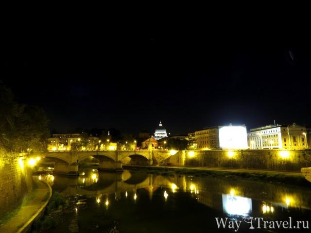 Вид на вечерний Тибр (Fiume Tevere)